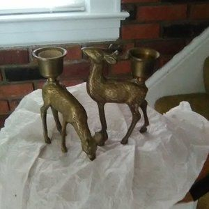 Accents - Brass Reindeer Candle Holders
